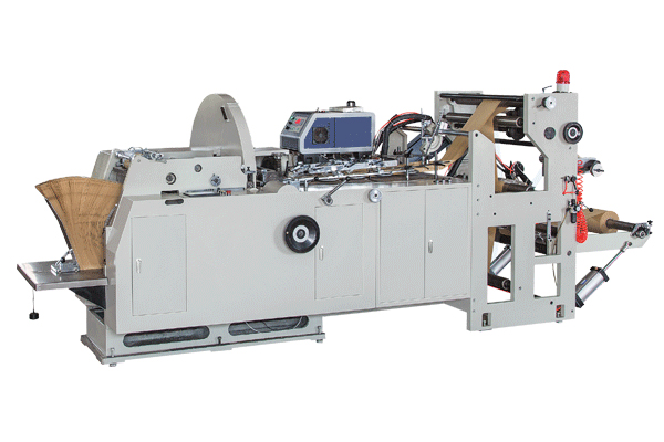 Paper bag machine production of various types of paper bags introduced